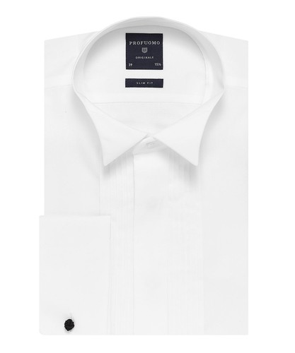 Profuomo Smoking Skjorta - Klassisk - Vit - Slim Fit - Twill - Double Cuff (1)